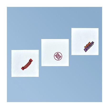 Servett med logo 25*25cm, vit 3 skikt, 1/4