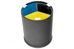 Avfallsbehållare 13L svart, 3 löstagbara fack