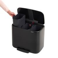 Avfallsbehållare 3 x 11L svart, 3 löstagbara fack