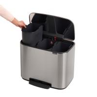 Avfallsbehållare 3 x 11L matt stål, 3 löstagbara fack