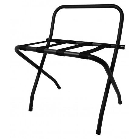 Väskbänk chrome svarta band och rygg, svart