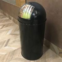 Rund avfallsbehållare 40 L, stål svart