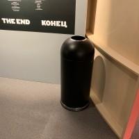 Rund avfallsbehållare 52 L, stål svart
